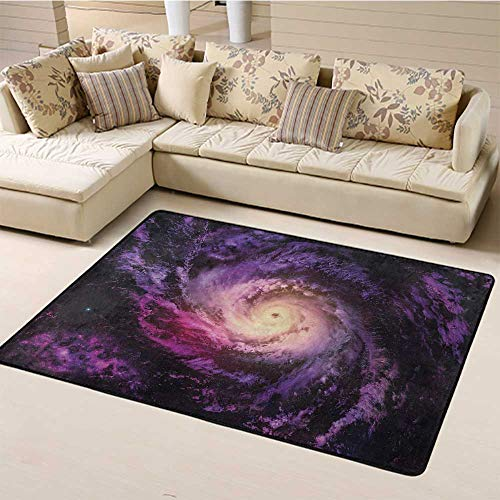 Large Carpet Mat Galaxy Indoor Non Slip Area Rugs Purple Nebula Cloudy Stardust Cluster Digital Print of a Galaxy in Space Image for Living Room Bedroom Home Deck Patio Black Purple (5'x7')