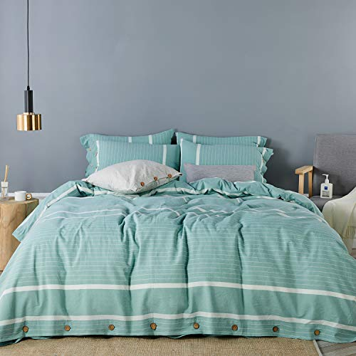 JELLYMONI Striped 100% Washed Cotton Duvet Cover Set, 3 Pieces Luxury Soft Bedding Set with Buttons Closure, Lake Blue Stripes Pattern Duvet Cover Queen Size(No Comforter)