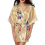 CHENGYANG Femme Paon et Fleurs Cardigan Robe de Chambre Satin Peignoir Court Kimono Soie (Jaune, 2XL)