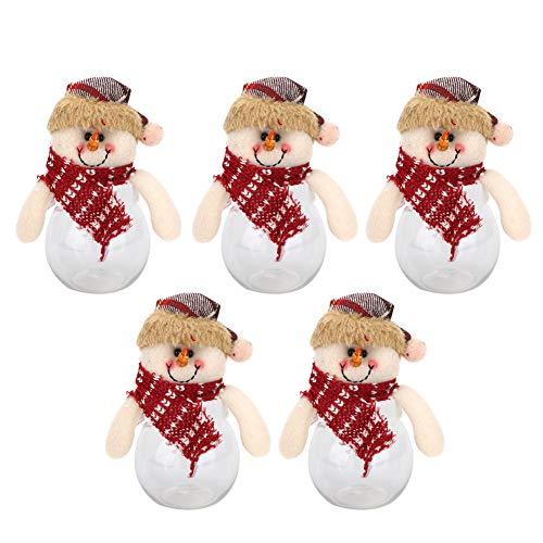 Zerodis 5 stuks Kerstmis sneeuwman bonbonglas doos Kerstman sneeuwman pop cookie suiker glazen verpakkingscontainer spaarvarken decoratie