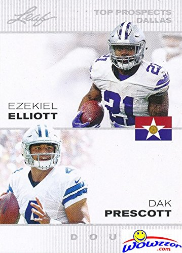 Dak Prescott & Ezekiel Elliott 2016 Leaf FIRST EVER Printed DUAL ROOKIE CARD in MINT Condition! Shipped in Ultra Pro Top Loader to Protect It! Awesome ROOKIE Card of Cowboy's Young Superstars!