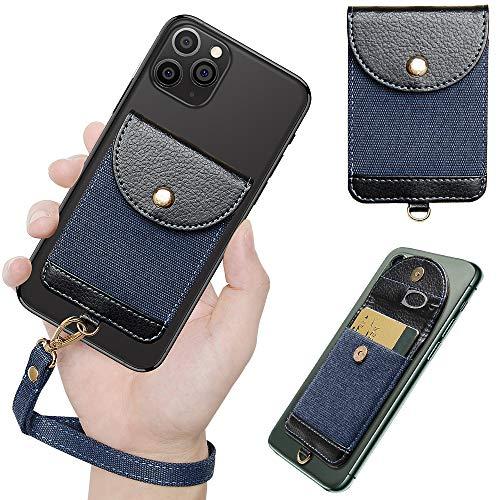 COCASES Handy Kartenhalter, Smartphone Kartenfach zum Aufkleben Kartenhalterung mit Handschlaufe Smart Wallet Kartenhülle Kartenetui (Blau)