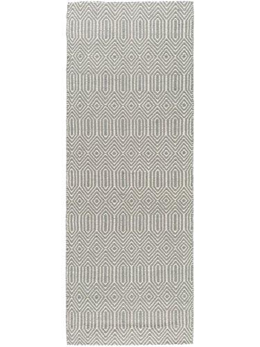 Benuta Alfombra de Pasillo Sloan, Lana, algodón, Gris, 66 x 200 x 2 cm