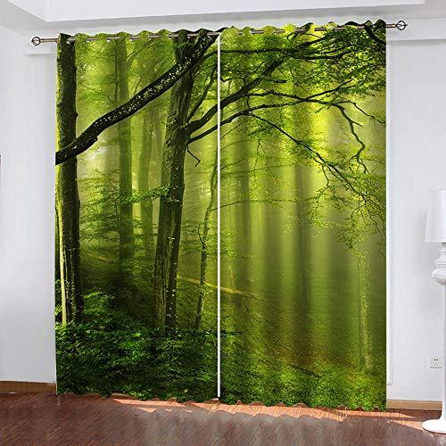 MUXIAND gordijn verduistering thermisch groen bos gordijnen zacht licht geblokkeerd voor brede verduistering gordijn - woonkamer set met grommets
