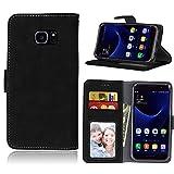 Janeqi para Samsung Galaxy S7 Edge/G9350(5.5') Funda Cáscara - Funda de Cuero Flip Helado Vintage con Bolsa de Tarjetas Anti-caída de Negocios Case Cover - H2/Negro