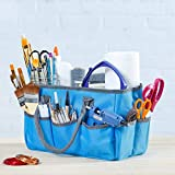Large Craft Storage Tote Bag with 10 Pockets | Scrapbooking, Sewing, Art Supplies, Organizer Caddy with Handles | Perfect Carrying Case for Travel, School, Medical or Office Supplies | Sky Blue