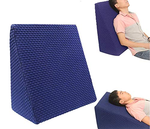Summerr Bed Wedge Pillow Multifunction Memory Foam Knitted Air Layer Fabric Best for Sleeping, Reading, Rest or Elevation - Breathable and Washable Cover (Color : Blue)
