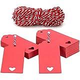 100pcs Etiquetas de Papel Kraft Etiquetas Regalo 9x4cm para Bodas/Navidad/Cumpleaños, Manualidades, Equipaje, con 20M Cordel Rojo y Blanco (rojo)