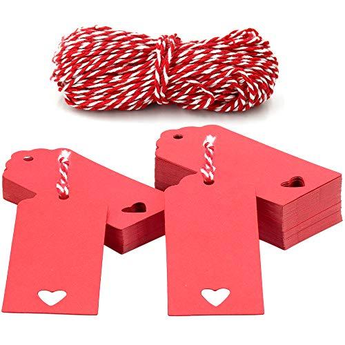 Etiquetas Papel Kraft 100piezas Etiquetas Regalo 9*4cm con Cordel Rojo y Blanco...