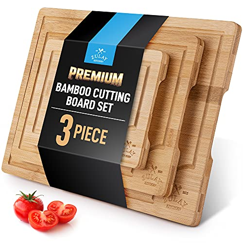 Zulay Kitchen 3-Piece Bamboo Cutting Board With Juice Groove – 100% Thick <a href=