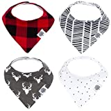 Parker Baby Bandana Drool Bibs – 4 Pack Baby Bibs for Boys, Girls, Unisex -'Lumberjack Set'
