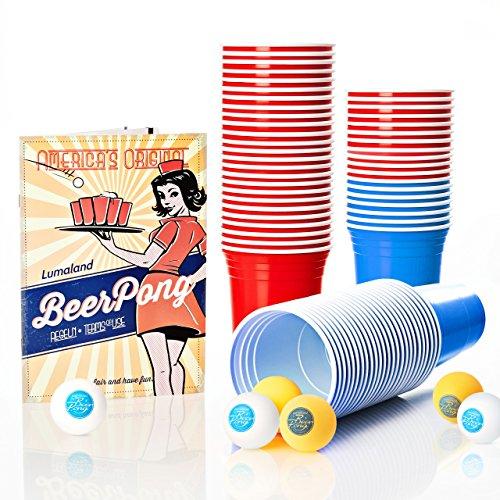 Lumaland Partybecher 50 oder 100 Stück 16 oz Trinkbecher als Party Set extra Starke Plastikbecher in rot (100 Stück + 6 Beer Pong Bälle Rot/Blau)