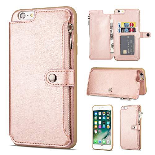 Shinyzone Hülle für iPhone 6S,Hülle für iPhone 6 Reißverschluss Brieftasche mit Kreditkarteninhaber und Geldtasche Magnetverschluss Standfunktion Leder Flip Back Schutzhülle-Roségold