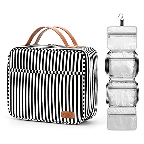 Hanging Travel Toiletry Bag, Large Capacity Wash Bag Waterproof Cosmetic Bag Makeup Organizer with 4 Compartments & 1 Sturdy Hook for Women/Men (Black & White Striped)