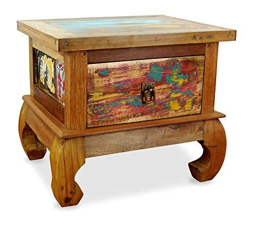 livasia Java Opiumtisch aus Buntem Teakholz | Beistelltisch aus Massivholz | Nachttisch der Marke Asia Wohnstudio | Nachtschrank | Kommode