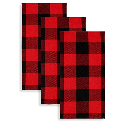 Cackleberry Home Red and Black Buffalo Check Woven Fabric Kitchen Towels 18 x 28 Inches, Set of 3