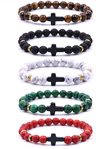EVELICAL 5Pcs Bead Bracelet for Men Women Lava Rock Stone Cross Bracelet Elastic