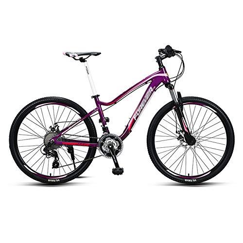 Bicicleta, Bicicleta de Montaña de 26 Pulgadas para Mujeres, Bicicleta de Doble Choque de 27 Velocidades, Con Marco de AleacióN de Aluminio de Poca Envergadura, Antideslizante, Freno de Disco Dob