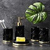 hokkk Cuarto de baño de Cinco Piezas Kit de Taza de Cepillado Europeo patrón de mármol Taza baño Simple decoración Conjunto 5 Piezas Set Negro
