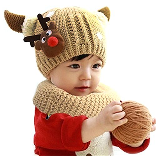 Coolpay Cute Baby Warm Hat With Scarf Children Winter Windproof Ski Knit Hat,Perfect for 1-4 Years Old Baby Girls or Baby Boys ( 2 Pcs ) (Khaki)