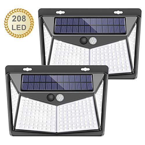 Luz solar exterior, 【208 LED / 3 Modos】SEZAC Luces de seguridad solar Luces de sensor de movimiento solar Impermeable 65 Luces al aire libre para jardín Cerca de garaje (paquete de 2)