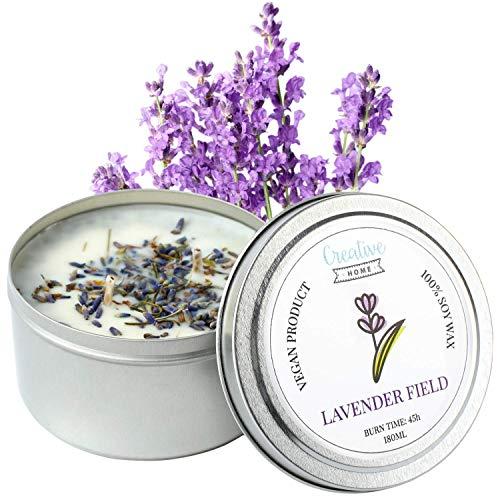 Creative Home Lavendel Soja-Wachs Duft-Kerzen | 45 Stunden Brenndauer | 100% Vegan in Dose | 180 ml Bio Aromatische Öle | Handgemacht | Perfekt als Entspannungs Deko oder Geschenk