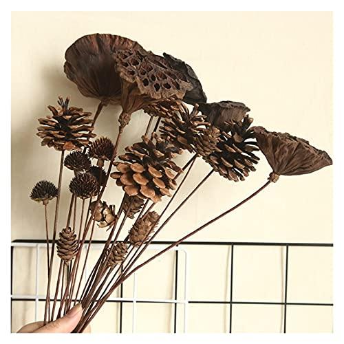Imagen de flores falsas Lotus natural Fluffy Fruit Fruit Flower, Flor de simulación de algodón de cono de pino, decoración del hogar Boda con bola de flores para la pared de la pared de la pared de la
