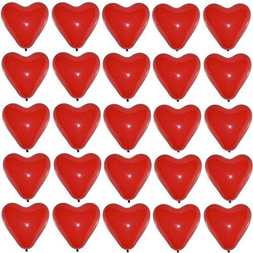 P&S events 25 große Premium Herz Luftballons Farbe Rot Ø 30cm Helium geeignet Markenqualität Herzluftballons für Party Hochzeit Herzballons Geburtstag