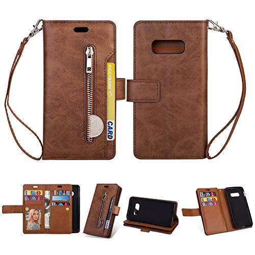Artfeel Hülle für Samsung Galaxy S10E,Flip Brieftasche Hülle Braun mit 9 Kartenfächer,Premium Leder Magnetisch Stand Handyhülle mit Reißverschluss Tasche und Handschlaufe Schutzhülle