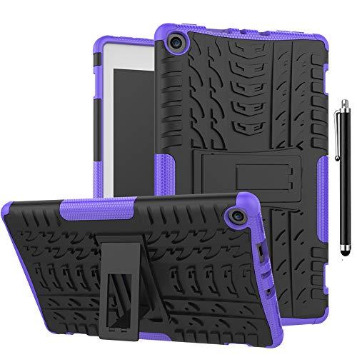 SsHhUu Funda para Lenovo Tab 4 10, Anti-Choques Carcasa Doble Capa Protectora de Silicón y PC con Soporte para Lenovo Tab 4 10 Pulgadas (TB-X304F / TB-X304L / TB-X304X), Púrpura