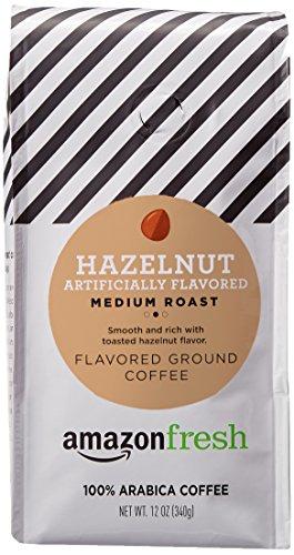 AmazonFresh Hazelnut Flavored Coffee, Ground, Medium Roast, 12 Ounce