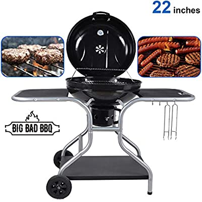 "EasyGoProducts Big Bad Charcoal BBQ Grill – Large Size Barbeque Grill for Outdoor Cooking – Cooking Area 22"" Diameter"