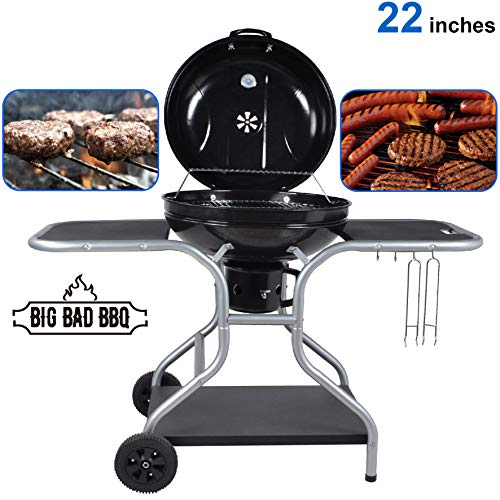 """EasyGoProducts Big Bad Charcoal BBQ Grill – Large Size Barbeque Grill for Outdoor Cooking – Cooking Area 22"""" Diameter"""