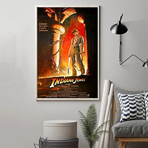 Liuqidong Cuadro de Arte de Pared Póster de película de Indiana Jones y el Templo de la perdición, Lienzo Impreso, Pintura de Pared, decoración del hogar 60x90cm