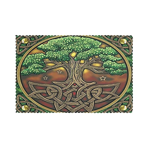 Celtic Tree of Life Place Mats Set of 6 Table Mats Washable Fabric Heat Insulation Placemats for Dining Table Kitchen Table 12' X 18'