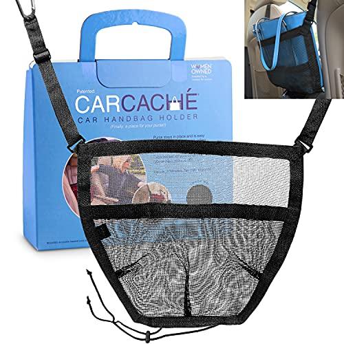 Car Cache Purse Holder for Car - Net Pocket Organizer for Handbag Storage Between Seats - Dog Barrier - Car Accessories for Women - Black