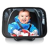 Aplic - Specchietto retrovisore per bambini su poggiatesta sedile - Specchio per ovetto neonati in auto - Controllo e sicurezza in viaggio - Nero universale regolabile