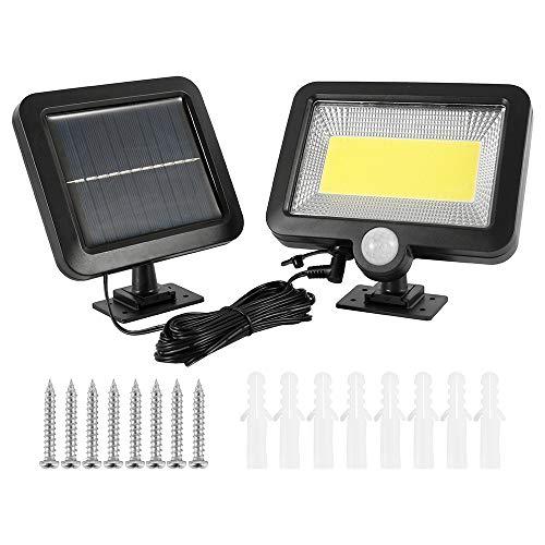 100 LED Luz Solar Exterior con Sensor de Movimiento Inteligente de Panel de 2 Partes IP65 a Prueba de Agua a 80 m de Distancia del Brillo para Exteriores, 1200 mAh Potente Foco de Seguridad Solar
