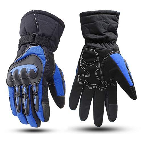 Guantes de Ciclismo Invierno Térmicos, Amortiguadores Impermeables Reflectantes Guantes de Bicicleta A Prueba de Viento Pantalla Táctil Cálida Dedo Completo para Hombres Mujeres,Azul,M