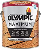 Olympic Stain Maximum Wood Stain and Sealer, Semi-Transparent Stain,1 Gal, Redwood