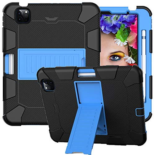 CLARKCAS Case for iPad Air 4th Generation 10.9 inch,iPad Pro 11 inch 2020/2018 Cases Shockproof Heavy Duty Full Protective Cover with Holder Stand for Kids Children iPad Air 4 2020, Black + Blue