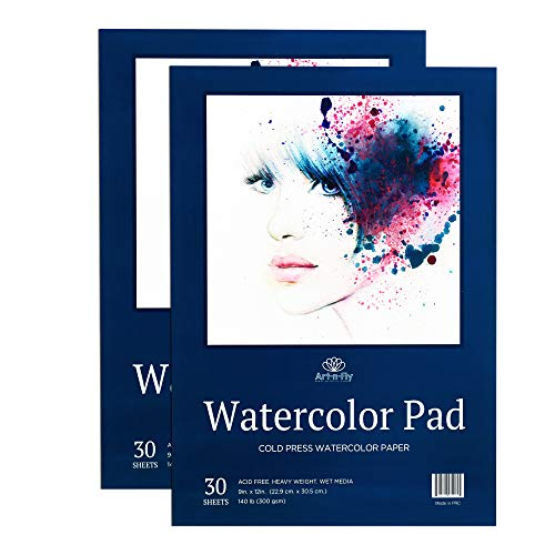 60 Sheets 9 X 12 Watercolor Paper (140lb/300gsm) Fold Over Design Cold Press Watercolor Pad - 2 Pack
