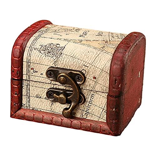 F Fityle Dekorative Holz Schatzkiste Fotos Schmuck Münzen Hobby Organizer Box Container Dekorative Spielhaus Requisiten
