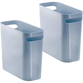 "mDesign Slim Plastic Rectangular Small Trash Can Wastebasket, Garbage Container Bin with Handles for Bathroom, Kitchen, Home Office, Dorm, Kids Room - 10"" High, Shatter-Resistant - 2 Pack - Slate Blue"