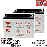 2個セット ■ 台湾ユアサ YUASA NP26-12R シールドバッテリー シニアカー セニアカー ET4E TC1A 【互換 HC24-12 NP24-12B PE12V24A HC24-12A HCSA12240 12SP26 EVX-12260 12M24 HP24-12 SC24-12】