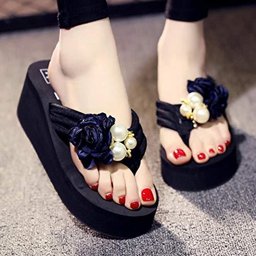 Chanclas de fondo grueso de playa con flores hechas a mano zapatillas-azul_39