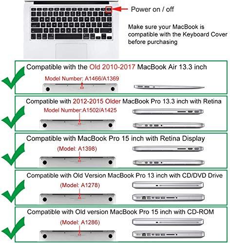 MOSISO EU/UK Tastaturschutz Kompatibel mit MacBook Pro 13/15 Zoll (mit/ohne Retina Display, 2015 oder älter Version), älter Macbook Air 13 Zoll (A1466 / A1369, Release 2010-2017), Schwarz