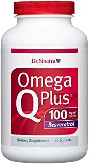 Dr. Sinatra's Omega Q Plus 100 Resveratrol – Omega-3 Supplement Supports Healthy Blood Flow, Blood Pressure, and Provides Antioxidant Power with 100mg of CoQ10 and Resveratrol (60 softgels)