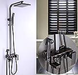Hermanhao Duschhahn Messing schwarz Wanne Wasserhahn Vierkantrohr Regendusche mit Schiebewand Badewanne und Duschmischer Mixer Set-style_2