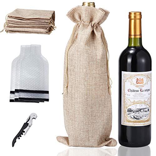 6 Burlap Wine Bag Reusable Bottle Protectors Now $7.20